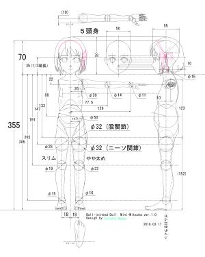 球体関節人形デッサン~ Blenderモデリングの下絵に使用するCAD設計図《5頭身》。「君の名は。」宮水三葉のつもりです。。。(汗