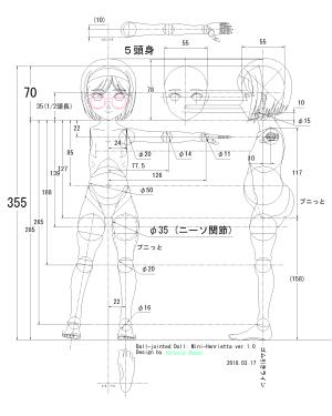 球体関節人形デッサン~ Blenderモデリングの下絵に使用するCAD設計図《5頭身》。「GUNSLINGER GIRL」ヘンリエッタのつもりです。。。(汗