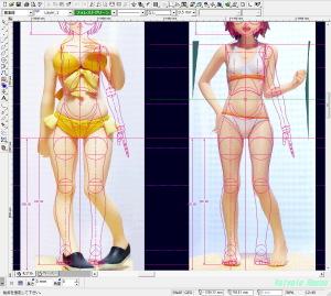 CADに「四宮ひまわりフィギュア」の写真を下絵として読み込んだら、設計中のボディラインと随分違うので、テツさんは「ぽっちゃり体型」を書くのが苦手なんだなー。と痛感しました。