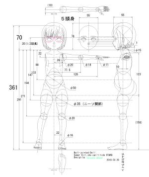 球体関節人形デッサン~ これまでに描いたヘンリエッタと宮水三葉と園藤姫乃のCAD図要素を合成して、「隠せないオタク」のゲーマー女子を作ってみた。