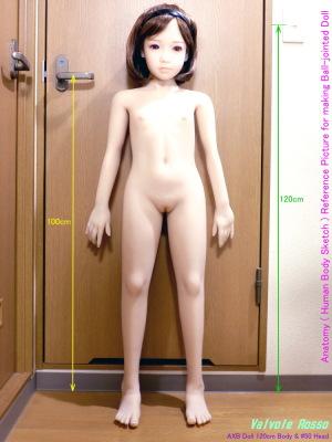 AXB Doll 120cm Body & #50 Head ドール全身大きさの比較。室内灯のスイッチは床面から120cm。ドアの取っ手は床面から100cmです。
