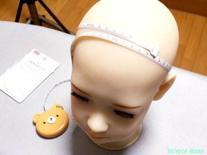 くまさんメジャーで、AXB Doll #50番ヘッド寸法を測定してみた。およそ49cmでした。