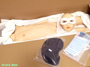 AXB Doll の付属品は、ブラックウィッグ&ボーダー水着(?)とその他