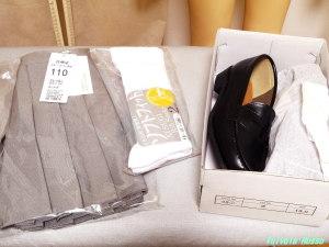 120cmボディ用プリーツ・スカート110とローファー19cmとソックス16-18cm